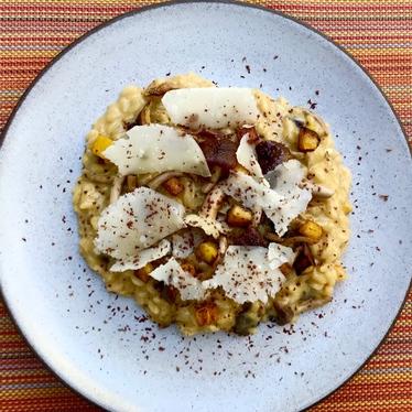 Acquerello risotto, delicata, pioppini e cioccolat at Solbar at Solage Calistoga